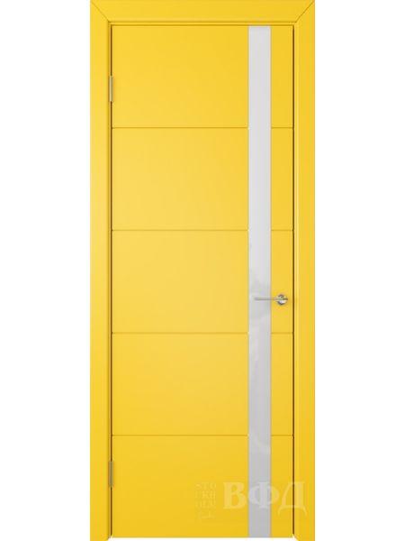 Межкомнатная дверь ВФД Тривиа 50ДО08 (Желтая эмаль - Стекло белое)