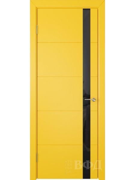 Межкомнатная дверь ВФД Тривиа 50ДО08 (Желтая эмаль - Стекло черное)