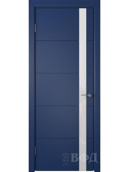 Межкомнатная дверь ВФД Тривиа 50ДО09 (Синяя эмаль - Стекло белое)