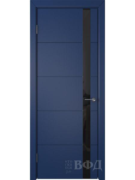 Межкомнатная дверь ВФД Тривиа 50ДО09 (Синяя эмаль - Стекло черное)