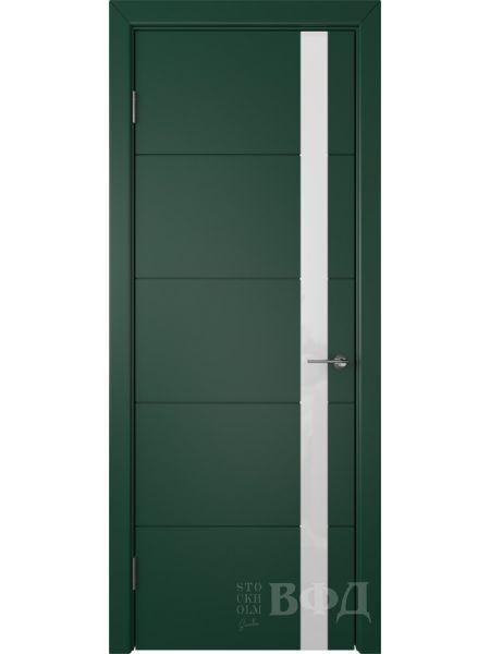 Межкомнатная дверь ВФД Тривиа 50ДО10 (Зеленая эмаль - Стекло белое)
