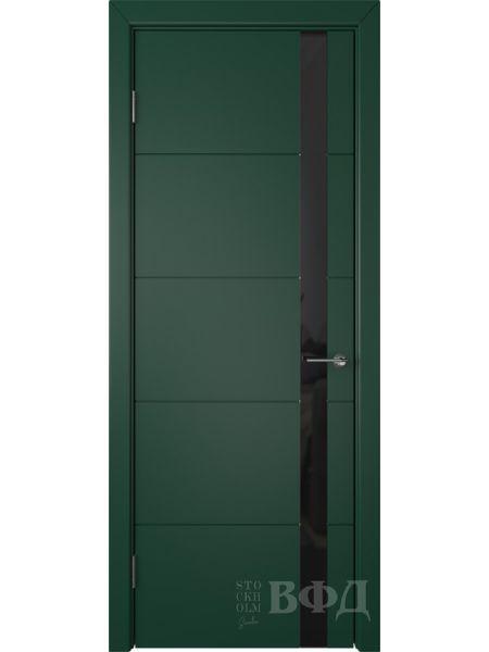 Межкомнатная дверь ВФД Тривиа 50ДО10 (Зеленая эмаль - Стекло черное)