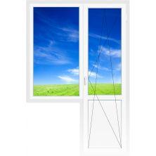 Балконный блок 2060х2100 мм (Одностворч., глух., 3-х камерное, дверь поворотно-откидная)