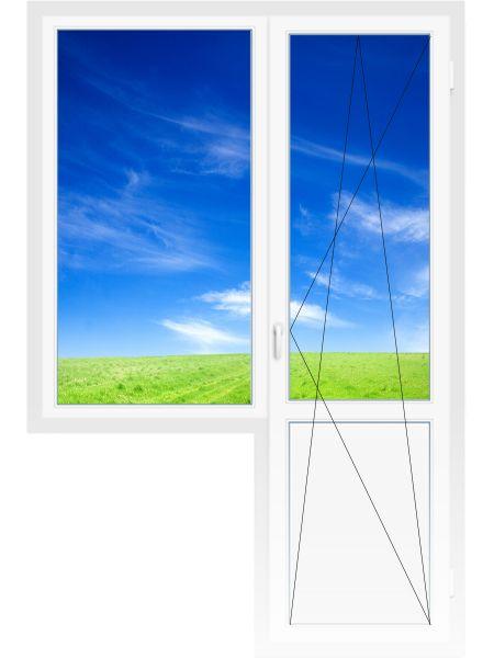 Балконный блок 2060х2100 мм (Одностворчатое, глухое, 3-х камерное, дверь поворотно-откидная)
