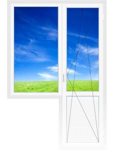 Балконный блок 2060х2100 мм (Одностворч., глух., 5-ти камерное, дверь поворотно-откидная)