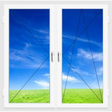 Окно ПВХ 1300х1400 мм (Двухстворчатое, поворотно-откидное, поворотное, 3-х камерное)