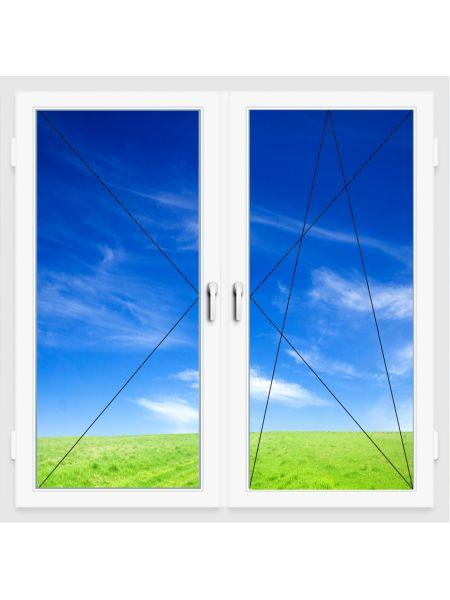 Окно ПВХ 1300х1400 мм (Двухстворчатое, поворотно-откидное, поворотное, 5-ти камерное)