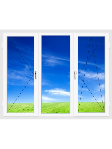 Окно ПВХ 2100х1400 мм (Трехстворчатое, поворотно-откидное, поворотное, 3-х камерное)