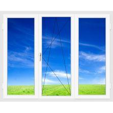 Окно ПВХ 2100х1400 мм (Трехстворчатое, поворотно-откидное, 3-х камерное)