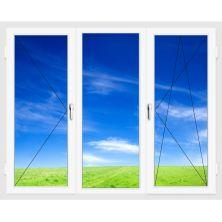 Окно ПВХ 2100х1400 мм (Трехстворчатое, поворотно-откидное, поворотное, 5-ти камерное)
