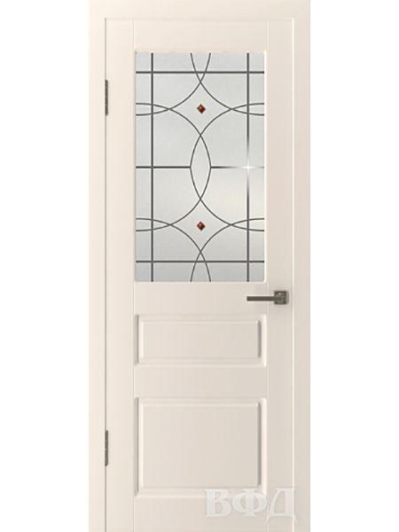Межкомнатная дверь ВФД Честер 15ДО1 стекло 3 (Слоновая кость)
