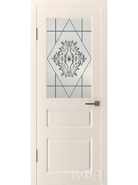Межкомнатная дверь ВФД Честер 15ДО1 стекло 4 (Слоновая кость)