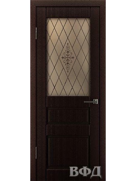 Межкомнатная дверь ВФД Честер 15ДО7 стекло 2 (Темный венге)